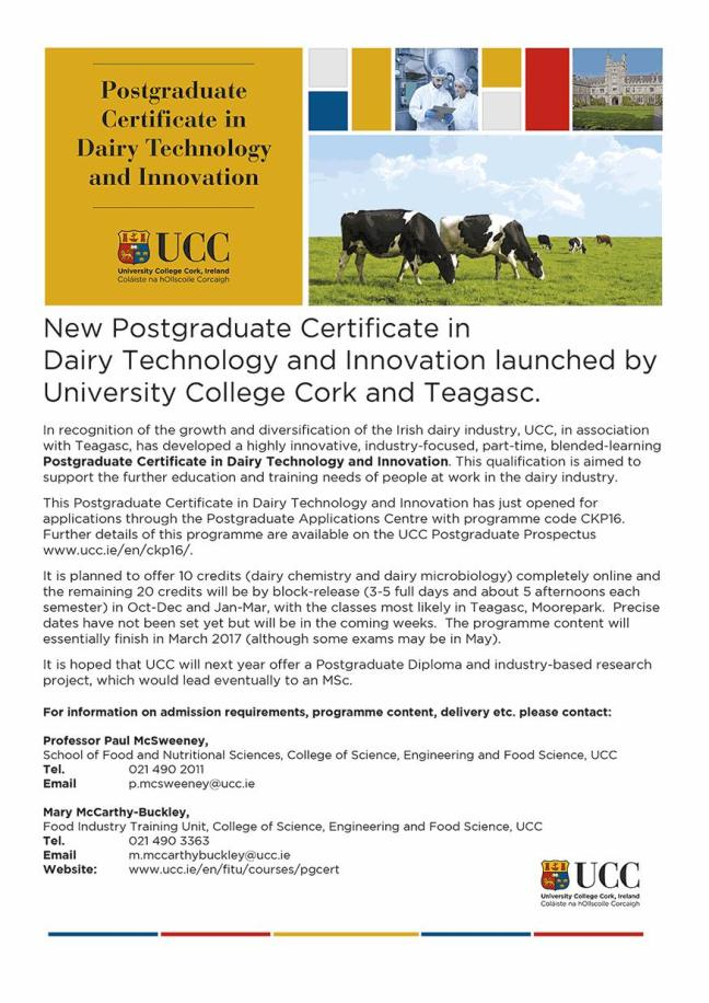 New Postgraduate Certificate in Dairy Technology & Innovation